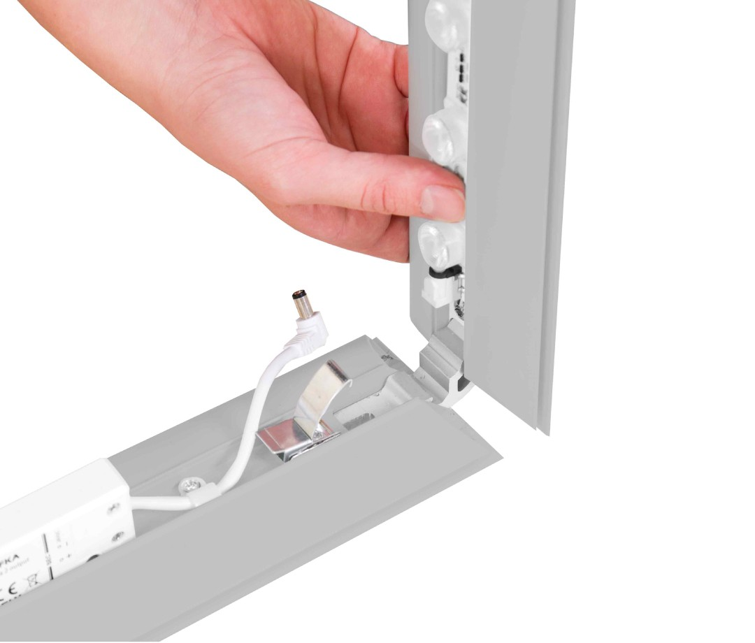 Pop-up LEDbox zilver hoek montage