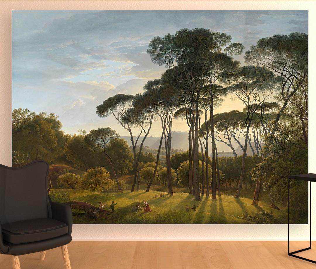 Hendrik Voogd - Italiaans landschap met parasoldennen - Textielframe