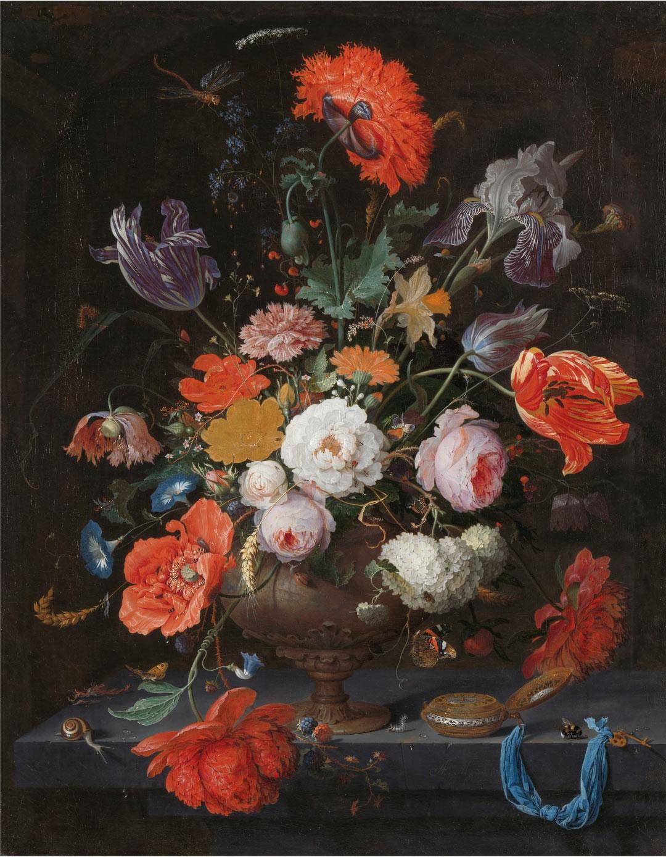 Abraham Mignon - Stilleven met bloemen en een horloge