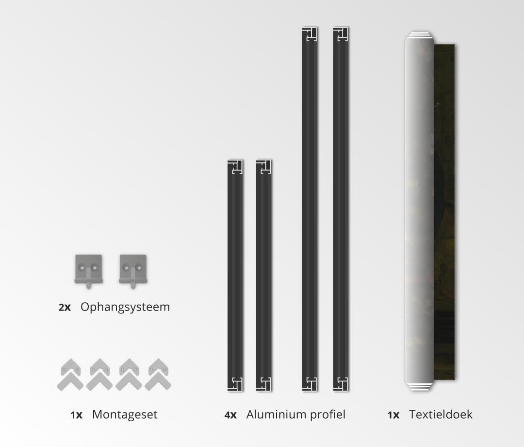 montageset - textielframe met textielprint