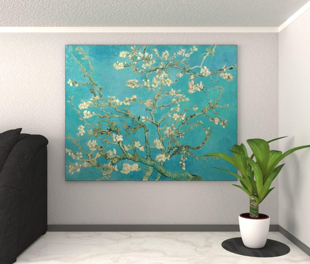 Amandelbloesem - Vincent van Gogh - Textielframe met doek