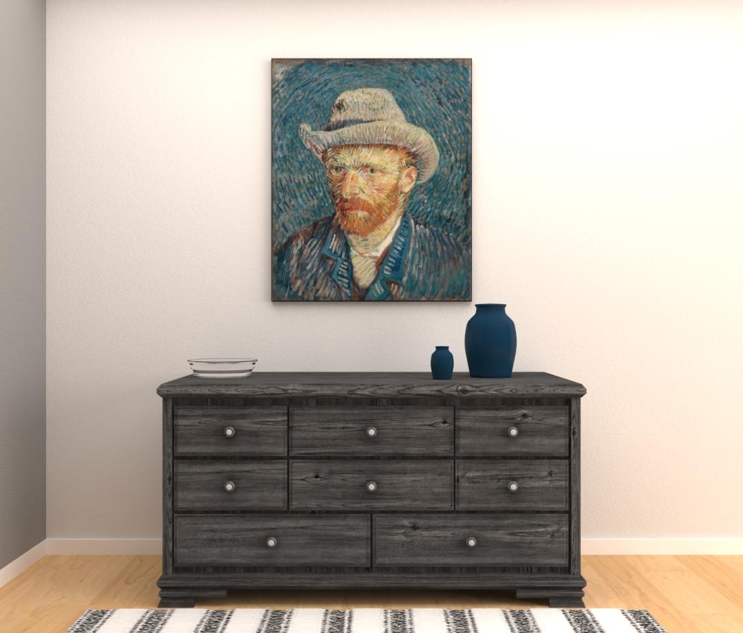 Zelfportret met grijze vilthoed - Vincent van Gogh