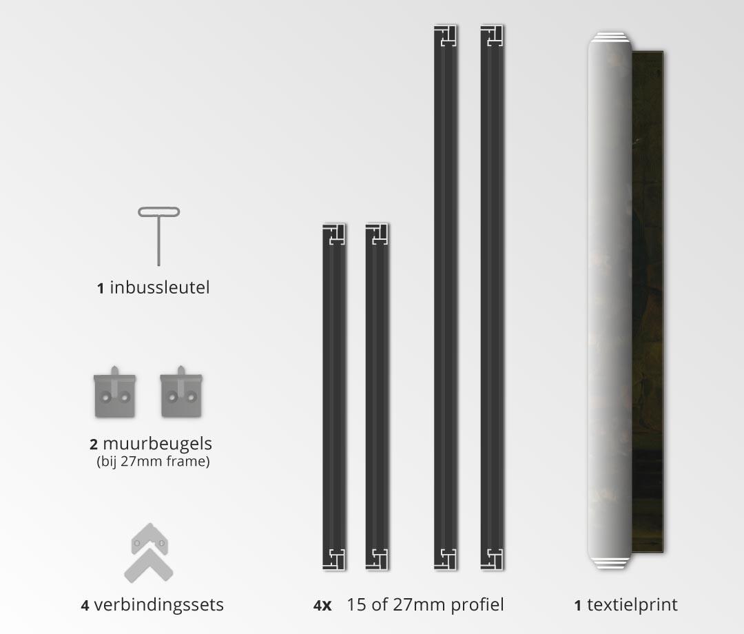 textielframe met textielprint - zwart