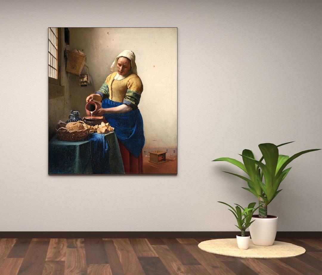 Het melkmeisje van Johannes Vermeer - Textielframe met textielprint
