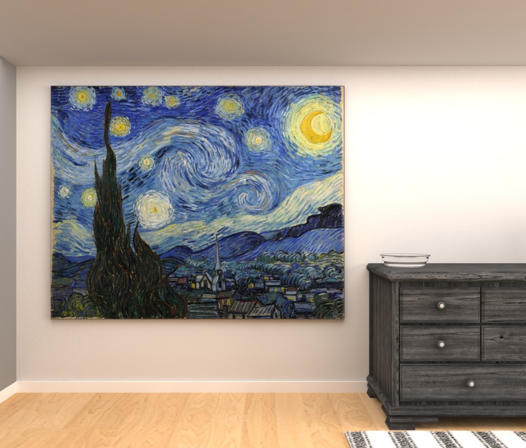 De Sterrennacht - Vincent van Gogh - Foto op textiel
